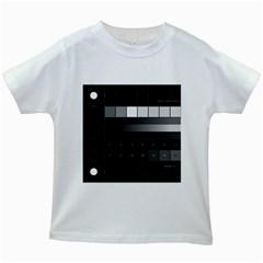 Grayscale Test Pattern Kids White T-Shirts