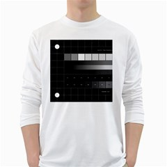 Grayscale Test Pattern White Long Sleeve T-Shirts