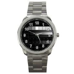 Grayscale Test Pattern Sport Metal Watch