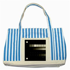 Grayscale Test Pattern Striped Blue Tote Bag