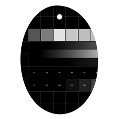 Grayscale Test Pattern Oval Ornament (Two Sides)