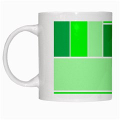 Green Shades Geometric Quad White Mugs