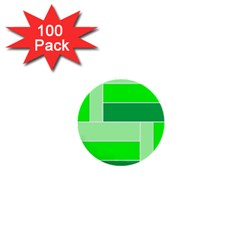 Green Shades Geometric Quad 1  Mini Buttons (100 pack)