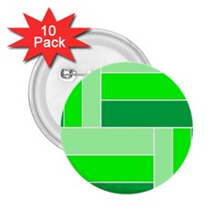 Green Shades Geometric Quad 2.25  Buttons (10 pack)