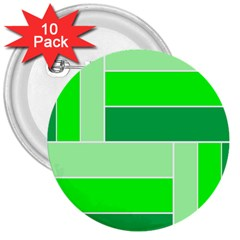 Green Shades Geometric Quad 3  Buttons (10 pack)