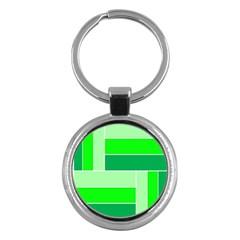Green Shades Geometric Quad Key Chains (Round)