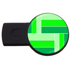 Green Shades Geometric Quad USB Flash Drive Round (2 GB)