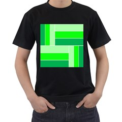 Green Shades Geometric Quad Men s T-Shirt (Black) (Two Sided)
