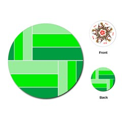 Green Shades Geometric Quad Playing Cards (Round)