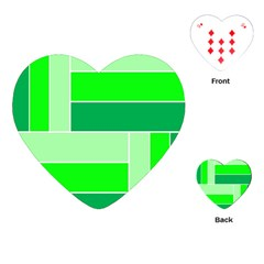 Green Shades Geometric Quad Playing Cards (Heart)