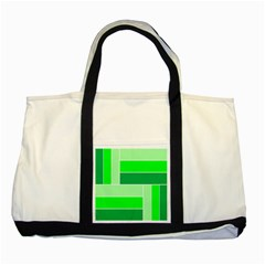 Green Shades Geometric Quad Two Tone Tote Bag