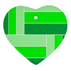 Green Shades Geometric Quad Heart Ornament (Two Sides)