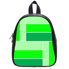 Green Shades Geometric Quad School Bags (Small)