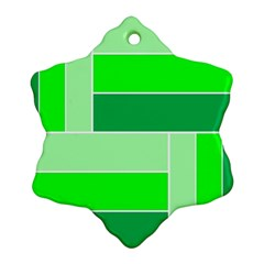 Green Shades Geometric Quad Ornament (Snowflake)