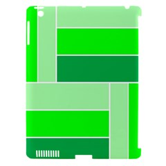 Green Shades Geometric Quad Apple iPad 3/4 Hardshell Case (Compatible with Smart Cover)