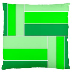 Green Shades Geometric Quad Large Cushion Case (Two Sides)