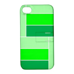 Green Shades Geometric Quad Apple iPhone 4/4S Hardshell Case with Stand