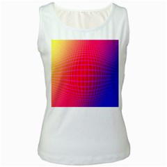 Grid Diamonds Figure Abstract Women s White Tank Top