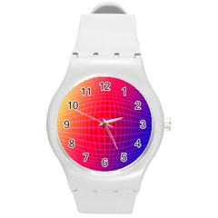 Grid Diamonds Figure Abstract Round Plastic Sport Watch (m)