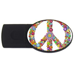 Groovy Flower Clip Art USB Flash Drive Oval (1 GB)