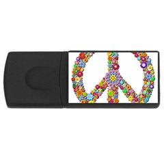 Groovy Flower Clip Art USB Flash Drive Rectangular (2 GB)