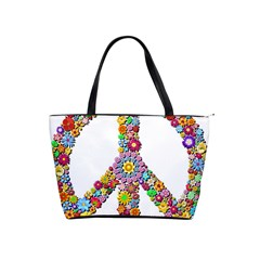 Groovy Flower Clip Art Shoulder Handbags