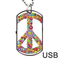 Groovy Flower Clip Art Dog Tag USB Flash (Two Sides)