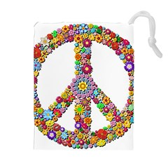 Groovy Flower Clip Art Drawstring Pouches (Extra Large)