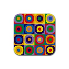 Kandinsky Circles Rubber Coaster (Square)