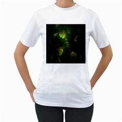 Light Fractal Plants Women s T-Shirt (White) (Two Sided)