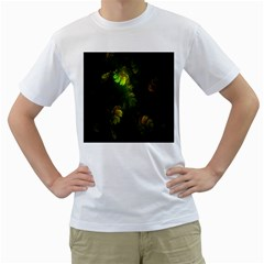 Light Fractal Plants Men s T-Shirt (White) (Two Sided)