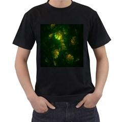 Light Fractal Plants Men s T-Shirt (Black) (Two Sided)