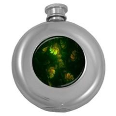 Light Fractal Plants Round Hip Flask (5 oz)