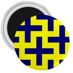 Pattern Blue Yellow Crosses Plus Style Bright 3  Magnets