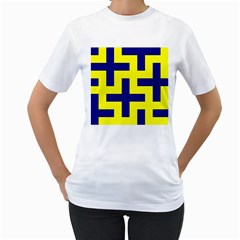 Pattern Blue Yellow Crosses Plus Style Bright Women s T-Shirt (White) (Two Sided)