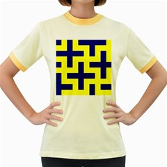 Pattern Blue Yellow Crosses Plus Style Bright Women s Fitted Ringer T-Shirts
