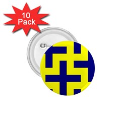 Pattern Blue Yellow Crosses Plus Style Bright 1.75  Buttons (10 pack)