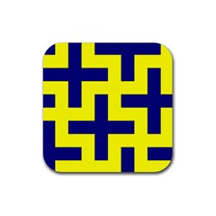 Pattern Blue Yellow Crosses Plus Style Bright Rubber Coaster (Square)