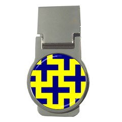 Pattern Blue Yellow Crosses Plus Style Bright Money Clips (Round)