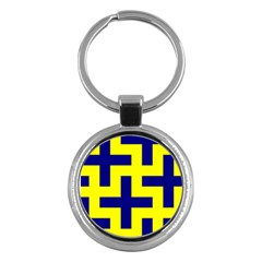 Pattern Blue Yellow Crosses Plus Style Bright Key Chains (Round)