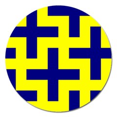 Pattern Blue Yellow Crosses Plus Style Bright Magnet 5  (Round)
