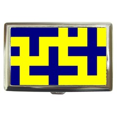 Pattern Blue Yellow Crosses Plus Style Bright Cigarette Money Cases