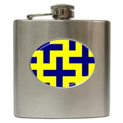 Pattern Blue Yellow Crosses Plus Style Bright Hip Flask (6 oz)