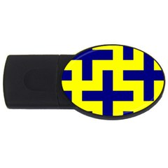 Pattern Blue Yellow Crosses Plus Style Bright USB Flash Drive Oval (2 GB)
