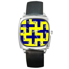 Pattern Blue Yellow Crosses Plus Style Bright Square Metal Watch