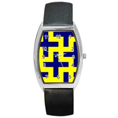 Pattern Blue Yellow Crosses Plus Style Bright Barrel Style Metal Watch
