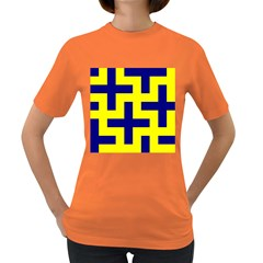 Pattern Blue Yellow Crosses Plus Style Bright Women s Dark T-Shirt