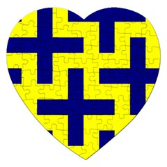 Pattern Blue Yellow Crosses Plus Style Bright Jigsaw Puzzle (Heart)