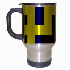 Pattern Blue Yellow Crosses Plus Style Bright Travel Mug (Silver Gray)