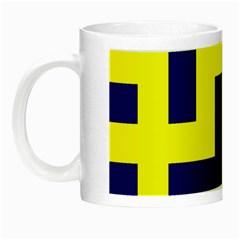 Pattern Blue Yellow Crosses Plus Style Bright Night Luminous Mugs